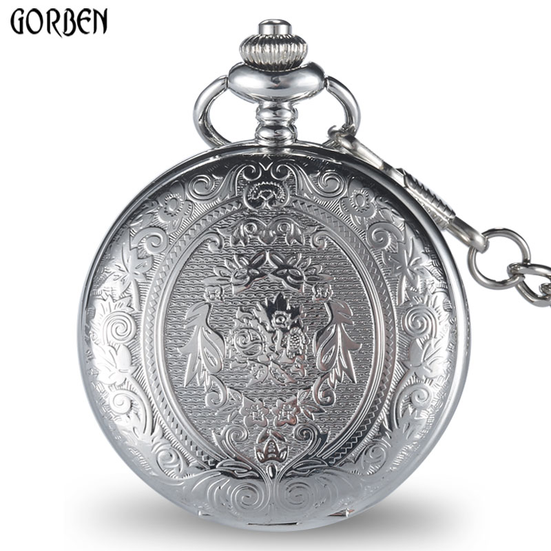 Retro GOBREN Roman numerals Silver Plated 2 Sides Carving Elegant Pocket Watch Mens Analog Quartz Fob Waist Women Luxury Watch цена и фото