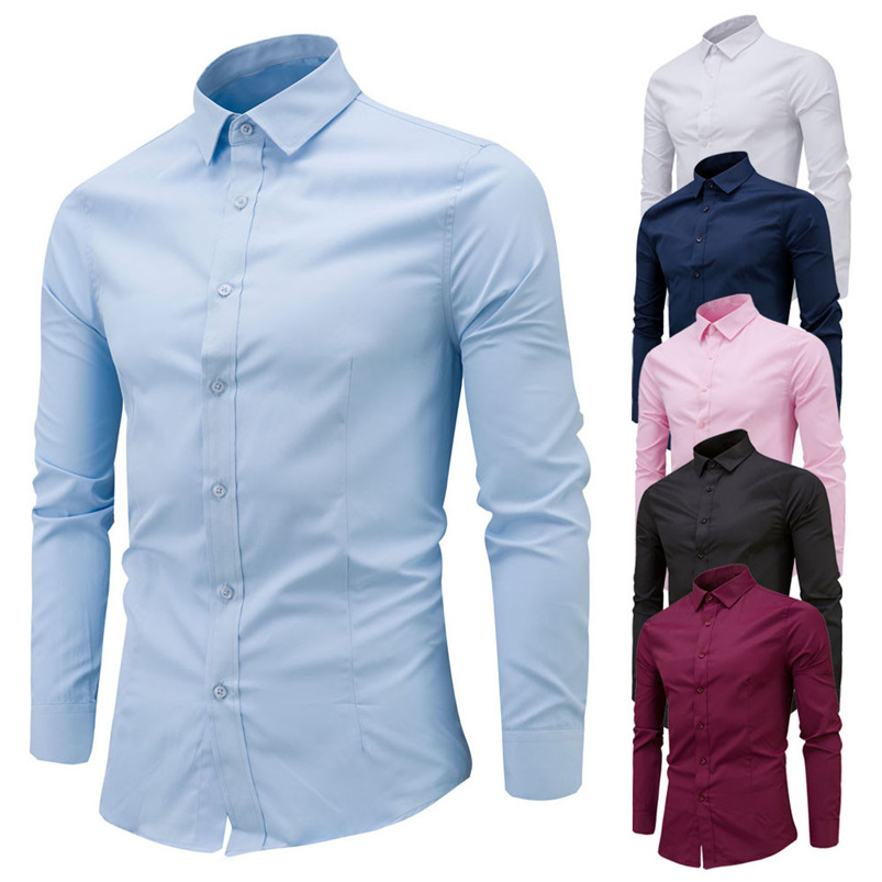 2018 shirt Men Fashion Brand Slim Fit Male Social Business Long Sleeve Basic Shirt Blouse Top Size M-4XL camisa masculina #M21