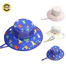 UPF 50+ Складная летняя детская Солнцезащитная шляпа для мальчиков и девочек, Панама, Солнцезащитная шляпа с широкими полями, детская пляжная шляпа, кепка от солнца с цветочным рисунком, морская От 1 до 6 лет