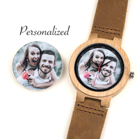 Wooden Watch Men Personal Customize Lady Family Birthday Gift Print picture Quartz Bamboo Watches Men's Wristwatch Engrave Logo