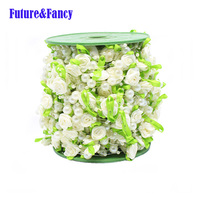 Future and Fancy Pearl Beads DIY Handmade Roses Garland Wedding Centerpiece Decoration 12 mm + 8 mm + 3 mm 25 m Length 2 Pcs