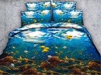 Shark Bedding set Luxury 3D quilt duvet cover bed sheet bed in a bag sheets linen Ocean Cal Super King Queen size full twin 4PCS