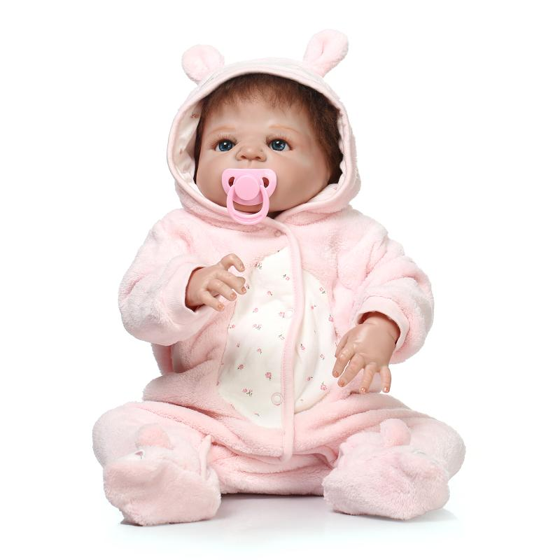 55cm Full Silicone Reborn Baby Doll Toy For Girl Vinyl Newborn in Pink plush princess clothes Babies Bebe Bathe Toy Xmas Gift