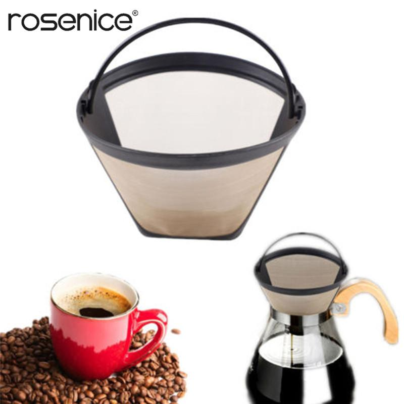 Washable Reusable Coffee Filter Cone Shape Coffee Filter Mesh Basket Portable Coffee Tools (Golden)