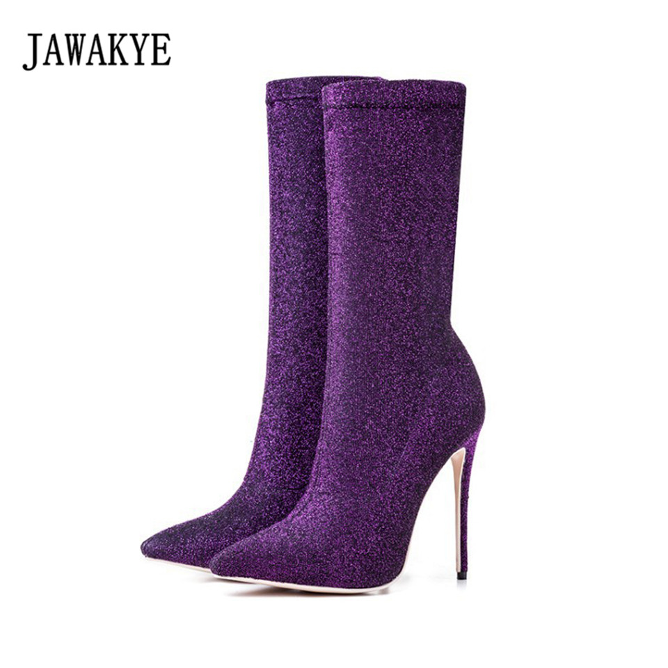 JAWAKYE Popular Bling Bling Knitted Sock Boots Women Pointed Toe Glittering Knitting Stiletto Shoes fashion Ankle Boots Woman JAWAKYE Popular Bling Bling Knitted Sock Boots Women Pointed Toe Glittering Knitting Stiletto Shoes fashion Ankle Boots Woman