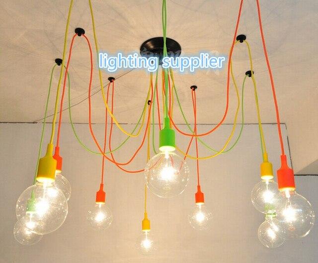 Modern Classic Pendant Lamp Colorful E27 Spider Light Bulb Lamp Holder Group Edison Adjustable Christmas Lighting Fixture