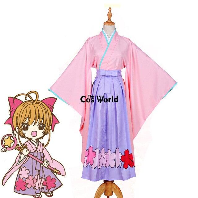 721f5cbc6 Cardcaptor Sakura Kinomoto Sakura Japanese Kimono Yukata Maid Dress Uniform  Outfit Anime Cosplay Costumes