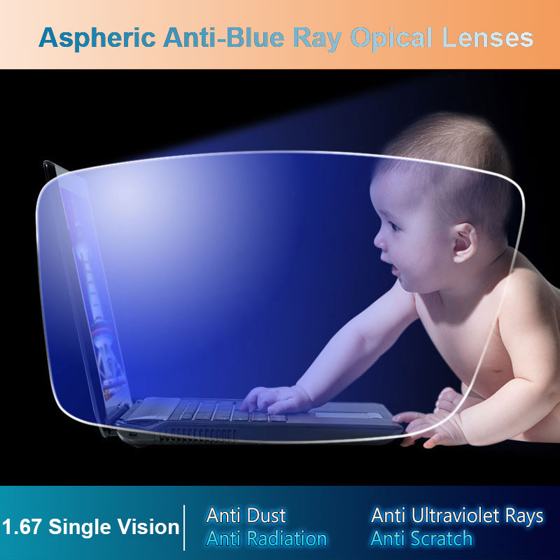 1 67 Anti Blue Ray Single Vision Aspheric Optical Prescription Lenses UV400 Anti Radiation and Anti