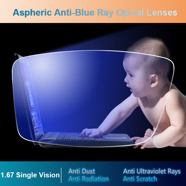 1.67 Anti-Blue Ray Single Vision Aspheric Optical Prescription Lenses UV400 Anti-Radiation and Anti-Reflective Coating Lens