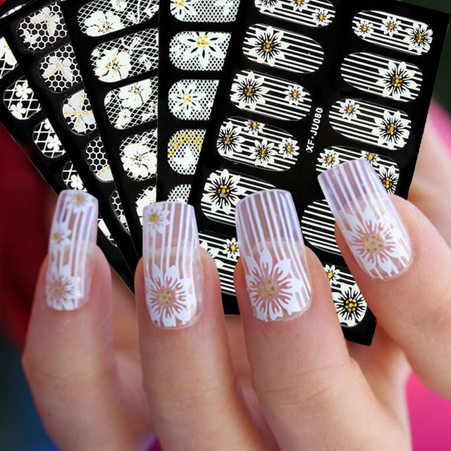 Nail Art Stickers White Lace Nail Stickers 3d Fake Nails Stickers ...