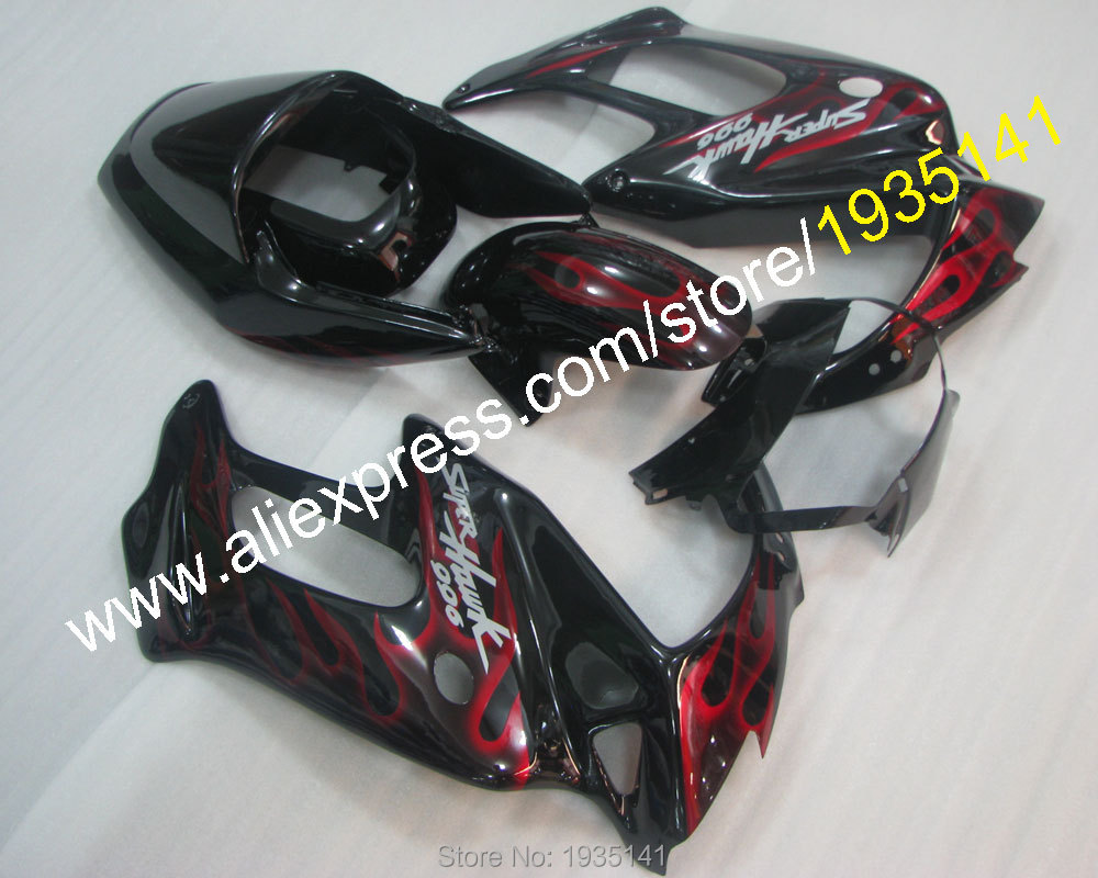 Hot Sales,Red Flame motorcycle For Honda VTR1000F 1997 1998 1999-2005 VTR 1000F 97 98 99 00 01 02 03 04 05 black body Fairing
