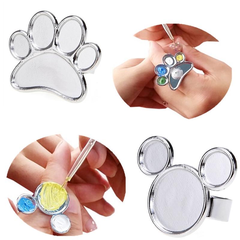 FäHig Monja Mini Nail Art Metall Finger Ring Palette Dish Acryl Uv Gel Polnischen Malerei Farbe Pigment Halter Lagerung Platte Fall Um Jeden Preis