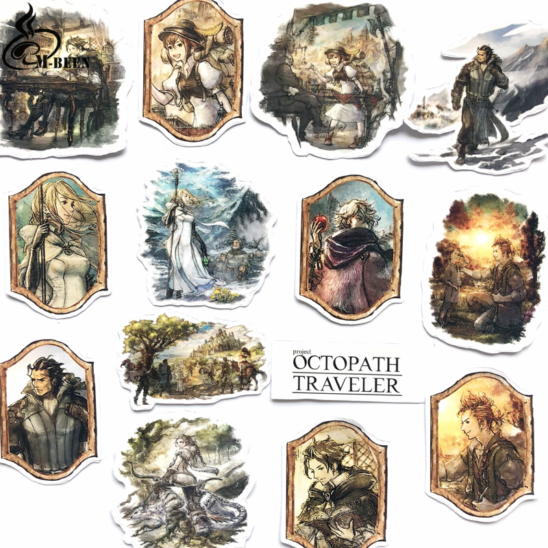 New 14pcs Octopath Travele Games Stickers For Laptop Suitcase Skateboard Moto Bicycle Car Kids'Toy DIY Waterproof Decals