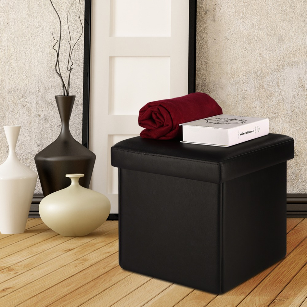 langria square faux leather upholstered folding storage ottoman cube footrest stool seat espresso for storage locker - Storage Ottoman Cube