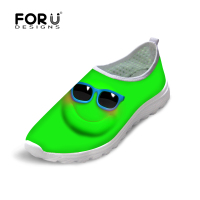 FORUDESIGNS Summer Breathable Flats Shoes for Men, Fashion Funny Print Men`s Causal Flat Mesh Walking Shoes chaussure homme