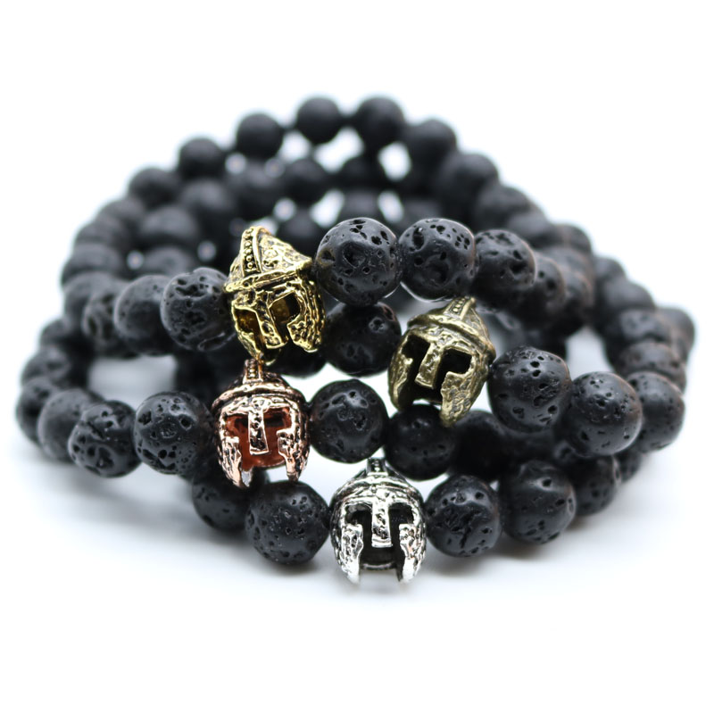 Antique Gold-Color Roman Warrior Gladiator Helmet Bracelet Men Black Lava Rock Stone Bead Bracelets For Men Pulseras N0-2