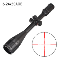 Hunting 6 24X50 AO Riflescope Tactical Optical Sight Full Size Mil Dot Red Green Blue llluminate Reticle Turrets Lock Scope