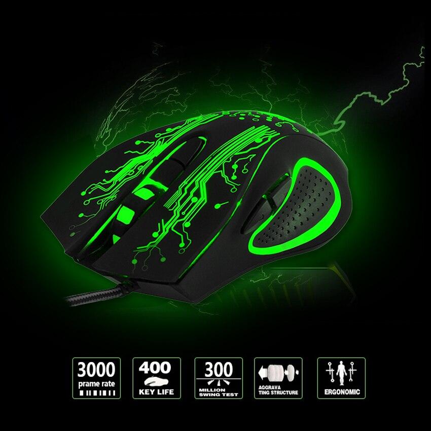 EASYIDEA Wired Gaming Maus 5000 dpi Professional USB Maus Mäuse Veränderbar LED Licht 6 Tasten Computer Optische Maus Für Gamer