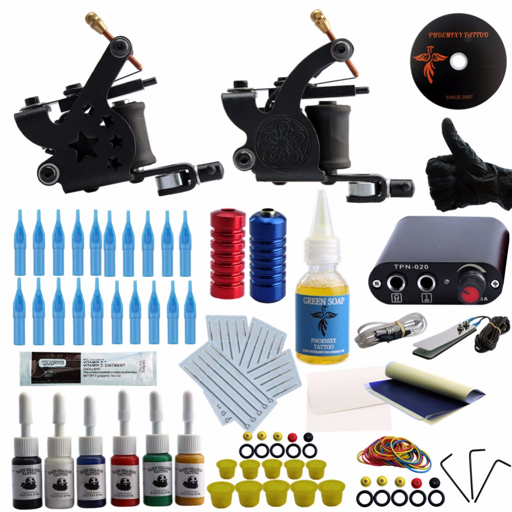 Complete Tattoo kits 1 Gun Tattoo Machine Power Supply 4 Color Ink Sets Disposable Needle Grip Tips 1 sets complete 4 gun tattoo kits professional machine equipment teaching cd ink needles power supply for beginners body art