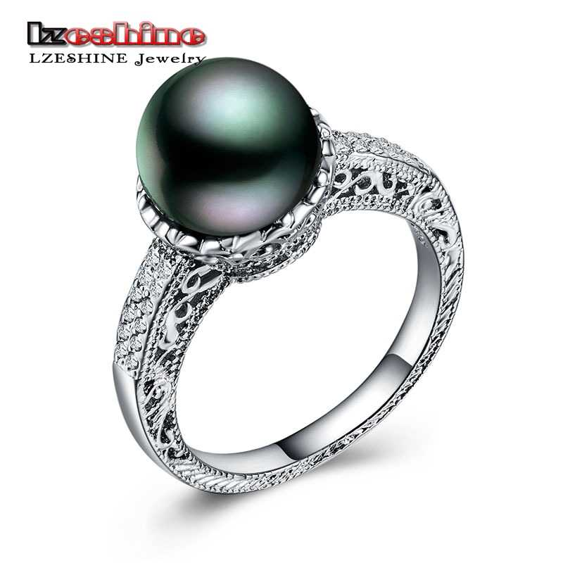 LZESHINE New Black Pearl Rings For Ladies Silver Color Wedding/Anniversary Finger Rings Pearl Statement Jewelry Dropshipping