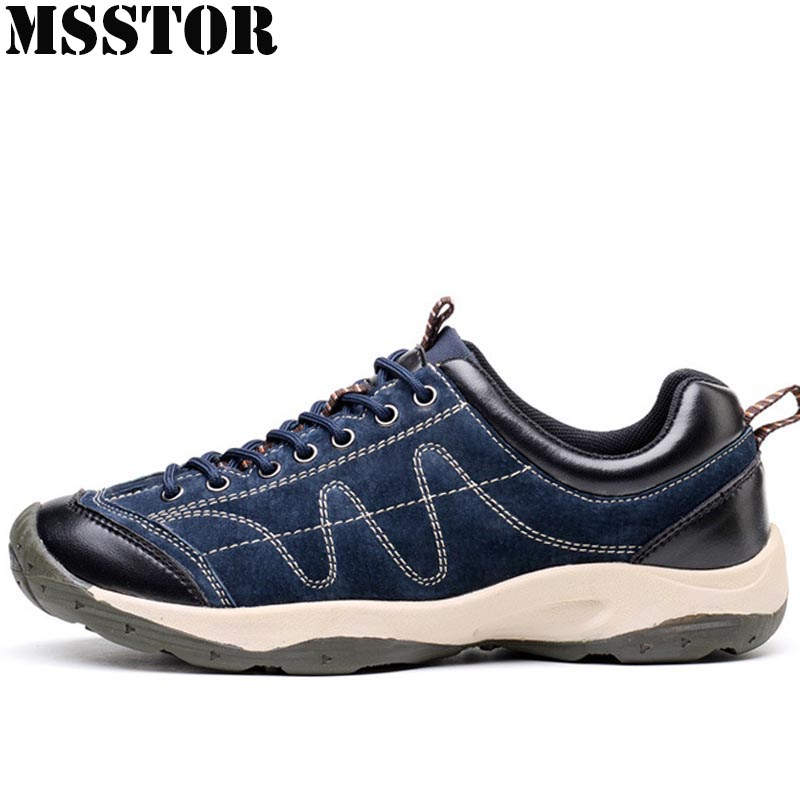 MSSTOR Men Hiking Shoes Man Brand Hunting Trekking Camping Sport Shoes For Men Outdoor Athletic Genuine Leather Men's Sneakers gomnear winter men s hiking boots outdoor climbing toutism hunting athletic boot trend trekking warm velvet sport shoes for male
