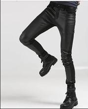 PLUS SIZE nowy 2019 mężczyźni niestandardowe fajne spodnie koreański młodzieży spodnie na co dzień rozmiar młodzieży popularne PU slim stożkowe spodnie kostiumy 27-44 tanie tanio Pełnej długości Mieszkanie 27-42 Suknem skinny Ołówek spodnie WZSKMJXH Poliester Faux leather NONE Zipper fly Midweight