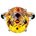 EDI Мода Цитрин Бриллиантовое Обручальное Кольцо 7ct Природный Кристалл Кольцо 9 К Желтое Золото Имитация Бриллиантовое Кольцо Для Женщин Ювелирные Изделия