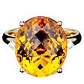 EDI Moda 7ct Citrino Anillo de Compromiso de Diamantes Anillo De Cristal Natural 9 K Oro Amarillo Anillo de Diamantes Simulados Para Las Mujeres Joyería