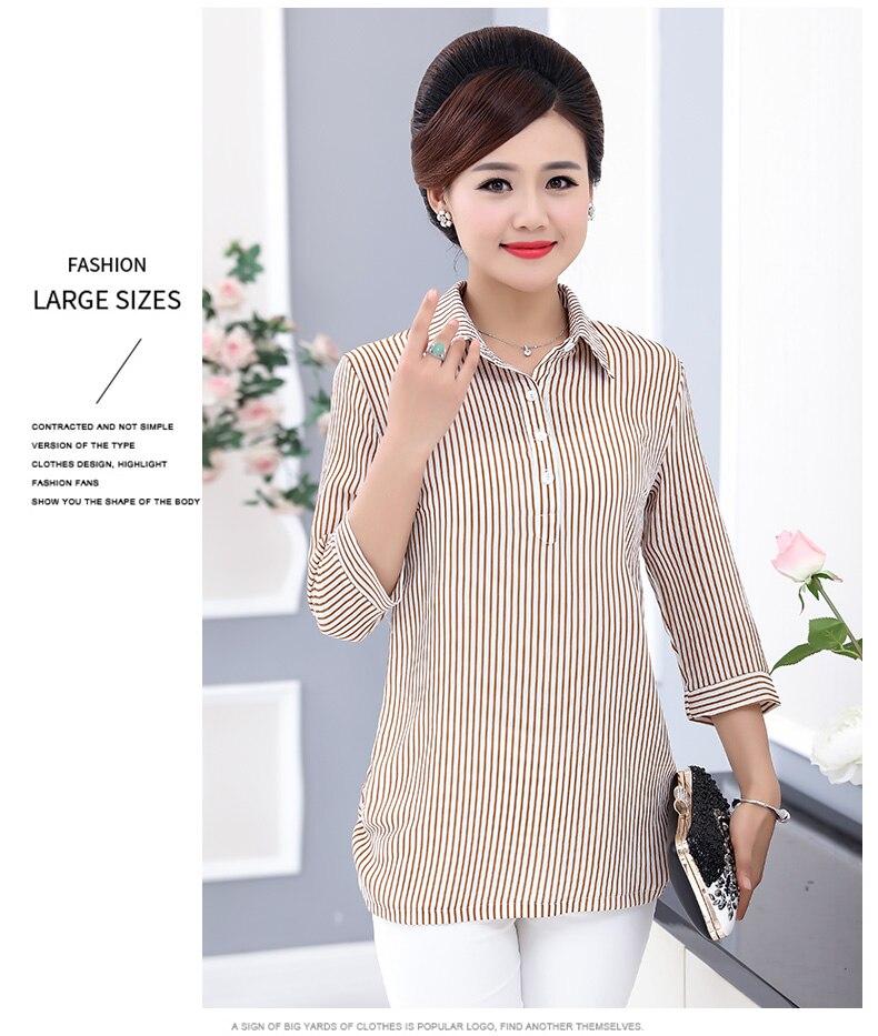 Women Casual Shirts Vertical Stripe Blouses Woman Three Quater Sleeve Top Mother Leisure Shirt Green Black Khaki Stripes Blouse (6)