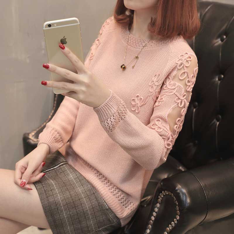 2019 Summer Knitted Pullover Tops Women Hollow Out Long Sleeve Ladies Thin Crochet Jumper Solid Womens Knitted Sweaters Female