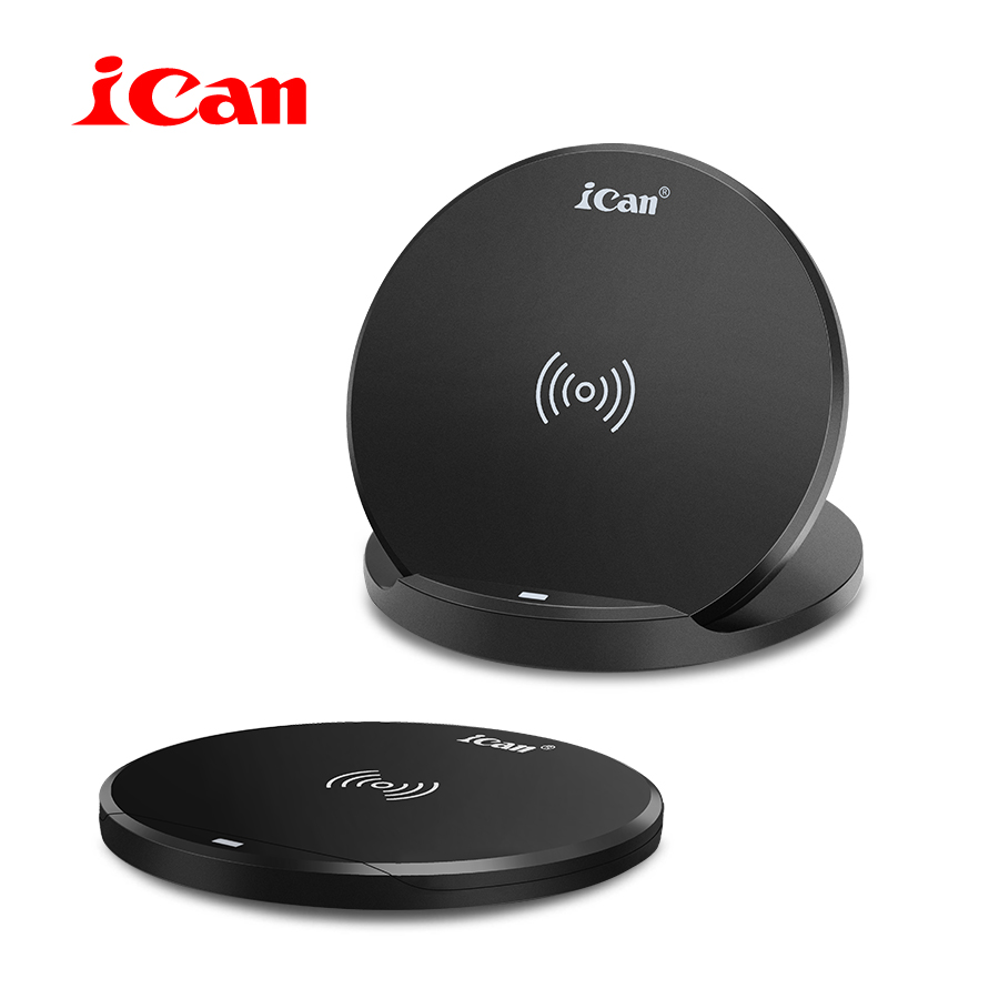 iCan 10W Fast Wireless Charging for Samsung S9/S8/S8+/S7 Qi 7.5W Fold Wireless Charger for iPhone8/8Plus/X QC3.0 USB Charger Pad