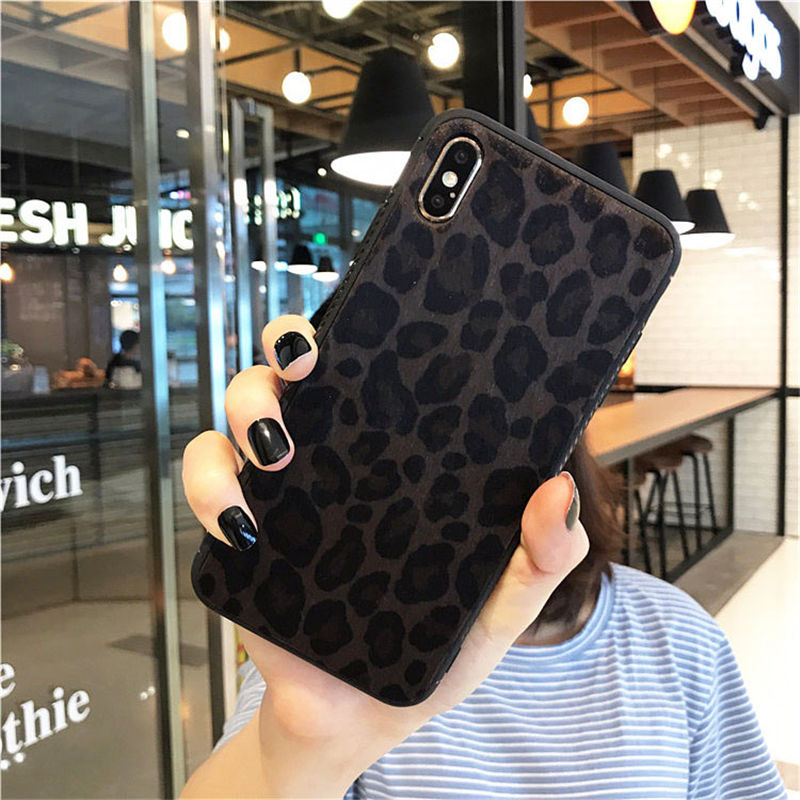 USLION Plush Leopard Print Phone Case For iPhone 11 7 8 Plus X XR XS Max Leopard Cases For iPhone 11 Pro Max 6S Plus  Back Cover