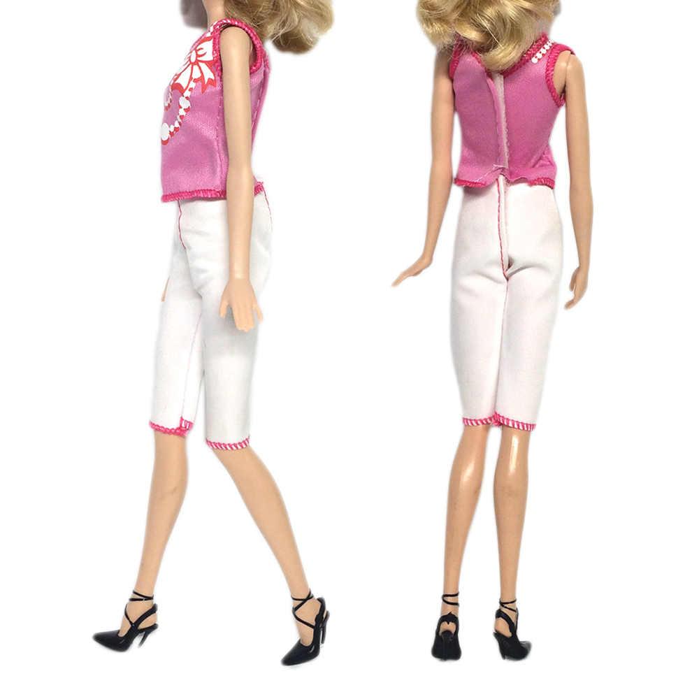 8 conjunto de Mini Boneca da Menina da Princesa Vestidos de Festa À Noite Saias Vestido Tops T-shirts Calças Roupas Roupas Acessórios para Barbie Brinquedo