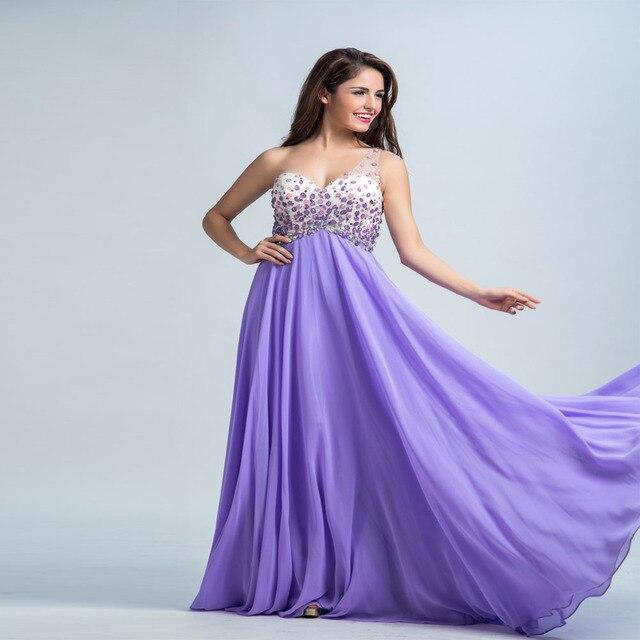 Sexy de Color Púrpura Vestido de Fiesta de Un Hombro Vestido Largo ...