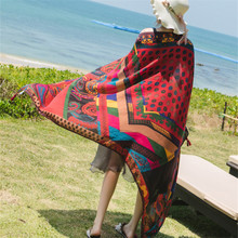 hot deal buy spring summer oversized 180*95cm linen cotton scarf ethnic print  sun shawl beach towels scarves for women female