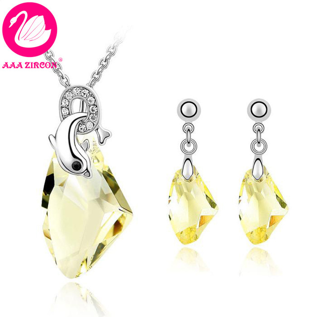 f84e48ee6 Quality Women's Dolphin Charm Faint Yellow Crystal Party Jewelry Set ( Necklace & Earring) Made With Swarovski Elements (4096)