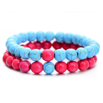 Classic Natural Stone Yin Yang Beaded Bracelets, 2Pcs/Set Bracelets Jewelry New Arrivals Women Jewelry Metal Color: blue hot pink