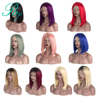 180% Density Pink Blonde Ombre Bob Wigs Brazilian Silky Straight Human Hair Lace Front Wig For Black Woman Riya Remy Hair