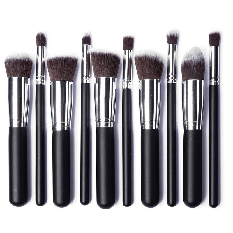 10pcs Silver Make Up Brushes Professional Powder Makeup Brushes Maquiagem Foundation Brush Cosmetic Makeup Tools Accessories Lahore