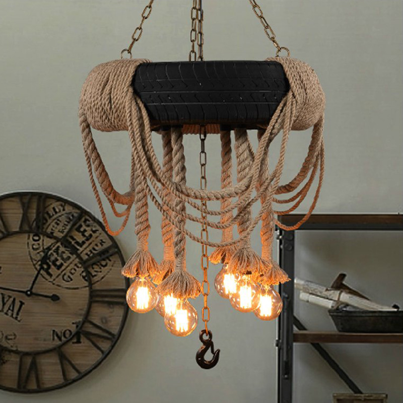 Loft 6 Lights 62cm Rope Chandelier Ceiling Light Pendant Lamp Vintage Retro New Vintage Light Fixtures Vintage Style Chandeliers nordic vintage chandelier lamp pendant lamps e27 e26 edison creative loft art decorative chandelier light chandeliers ceiling
