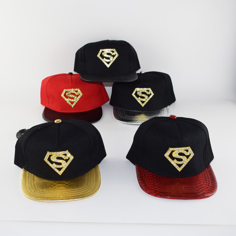 2017 New Summer Europe Baseball Cap Superman rhinestone Hat For Men Women Casual Bone Hip Hop Snapback Caps Sun Hats sharp sj f95stbe