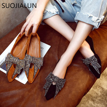 SUOJIALUN Women Flat 2019 Elegant  Fashion Women Flat Ballet Shoes Bling Crystal Bow Tie Pointed Toe Flats Shoes Lady Shiny Flat