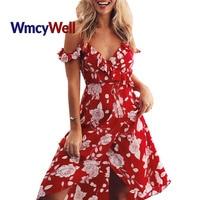 Wmcywell 여성의 여름 레드 쉬폰 파티