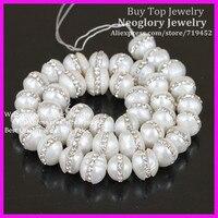 1strand Fresh Water Pearl with Rhinestone Bead,Elegant White Freshwater Baroque pearl,Sparkling Rhinestone 10mm Round Pearl