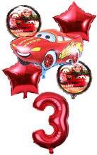 6 Pcs Dos Desenhos Animados Do Carro Relâmpago Mcqueen Foil Balloons 18 Polegada Rodada carro Balão E 32 Polegada Número Definido Brinquedos Festa de Aniversário Do Miúdo decoração