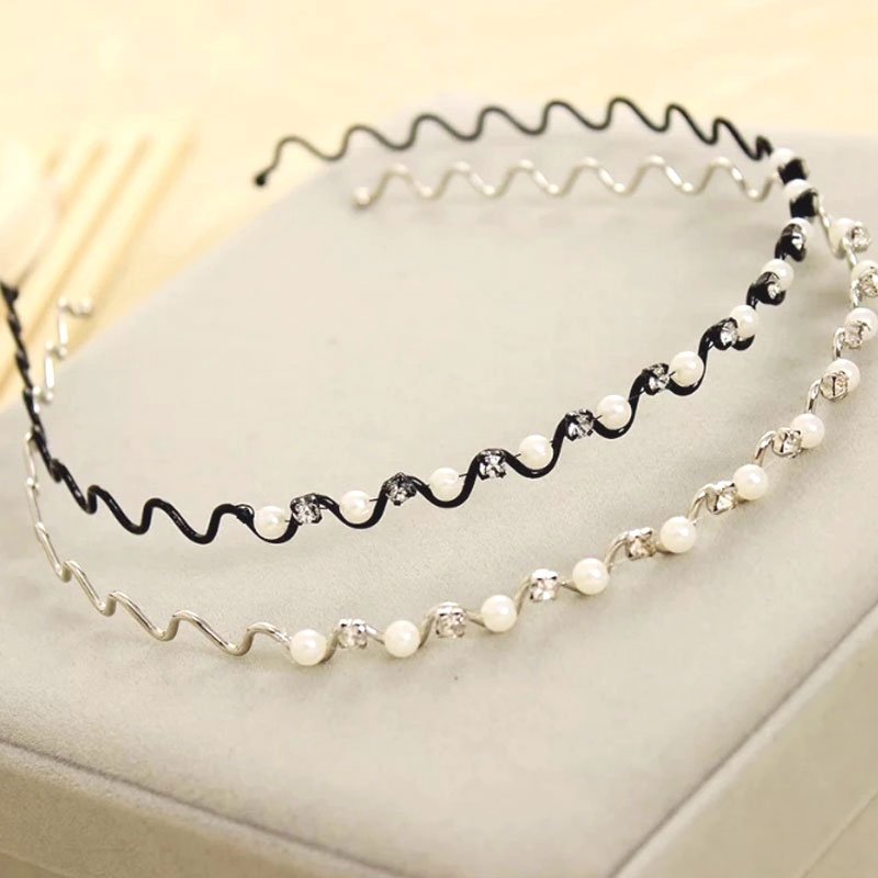 1 Pcs Princess Pearl Hairbands Rhinestone Elegant Female   Headwear   Fashion Girls Headbands Children Hair Accessories