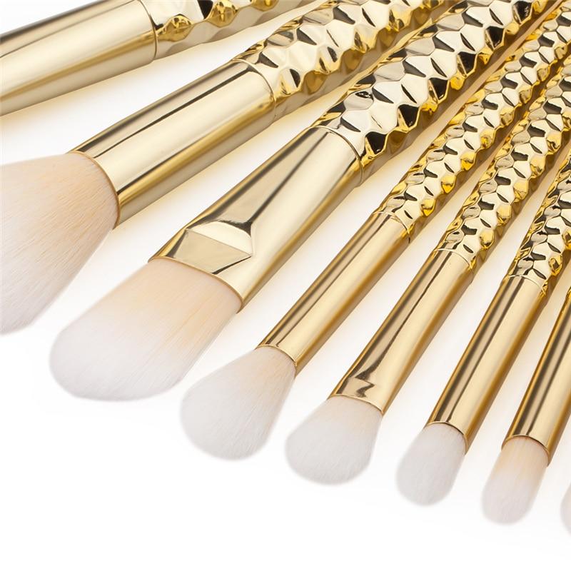 8Pcs Makeup Brushes Kits Professional Nylon Honeycomb Cosmetic Foundation Eye Face Blush Brush Set Tools Gold pinceis maquiagem tin nylon cosmetic foundation makeup brush set