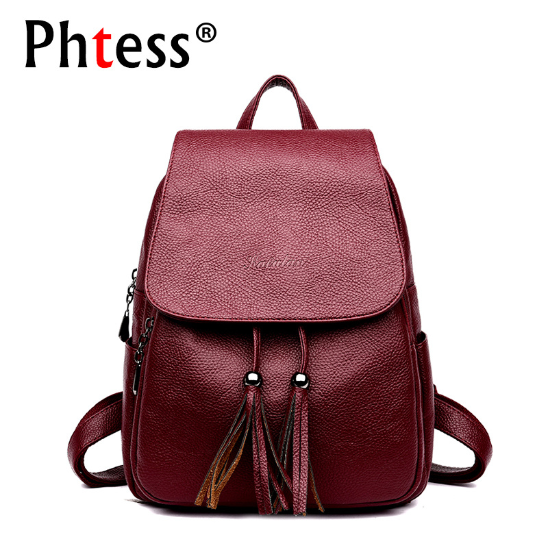 2018 New Designer High Quality Women Leather Backpacks Sac a Dos Tassel Large Capacity Travel Backpack Ladies Bagpack Vintage kibdream new laptop backpacks designer brand large capacity travel bags men women unisex computer bag bolsas mochila sac a dos