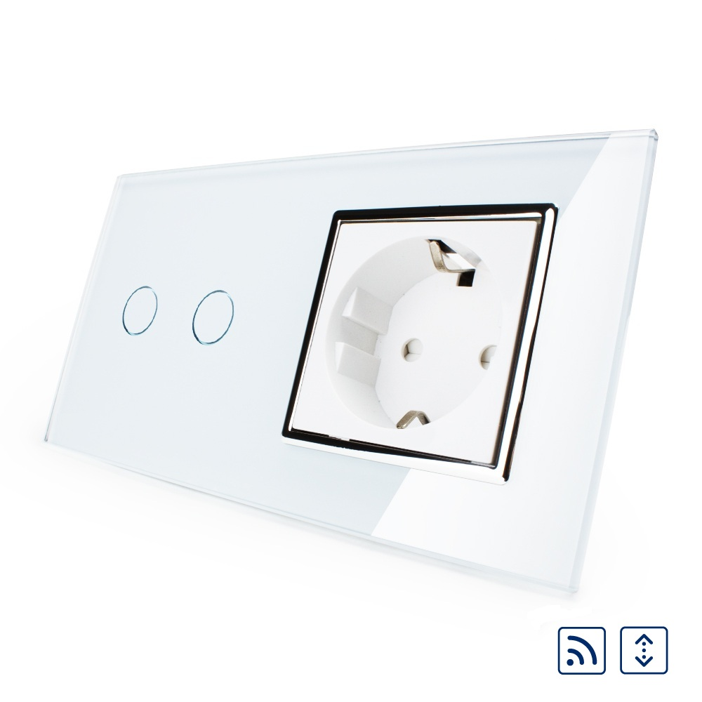 2017 Smart Remote Curtains Switch,16A EU standard Wall Power Socket, White Crystal Glass Panel, Touch Switch with Wall Outlet smart home eu touch switch wireless remote control wall touch switch 3 gang 1 way white crystal glass panel waterproof power