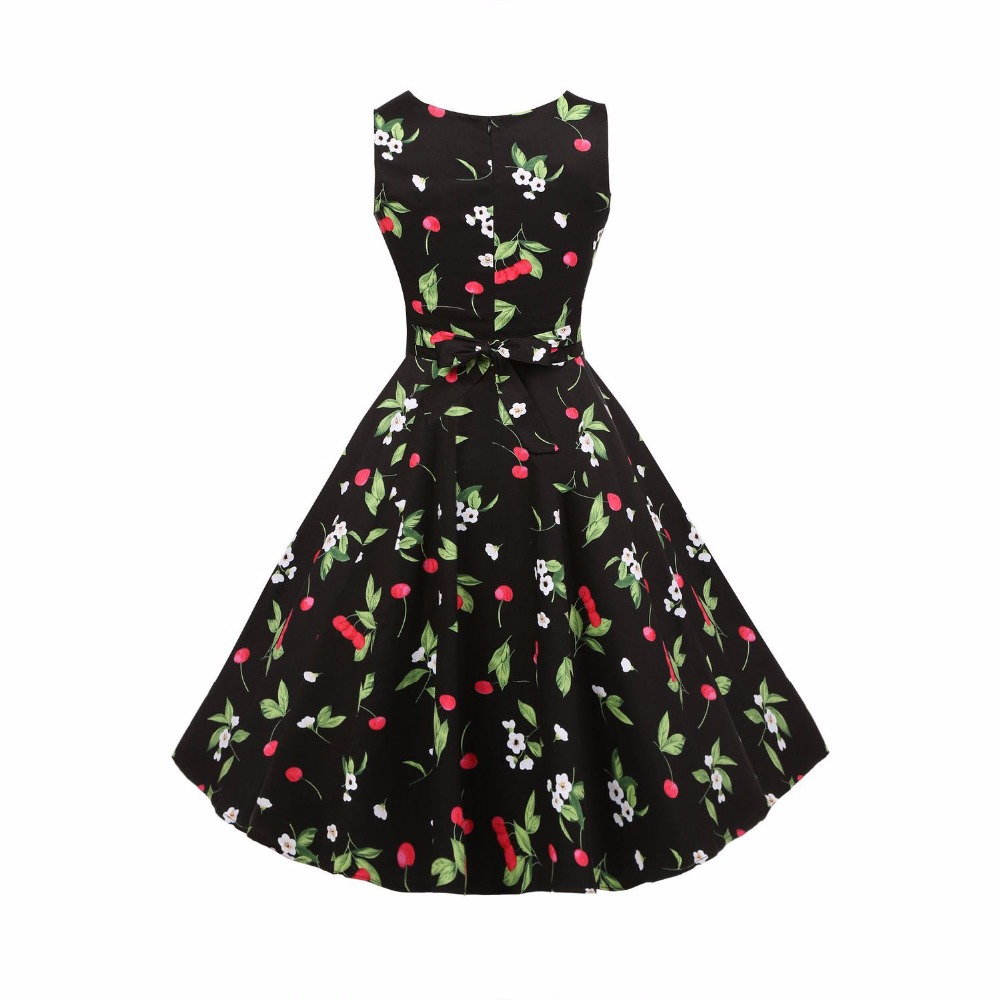 Elegant 2017 Sexy Floral Rose Flare Gothic Midi Dress Vintage Party ...